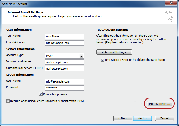 Internet Email Settings Outlook 2010 Copy