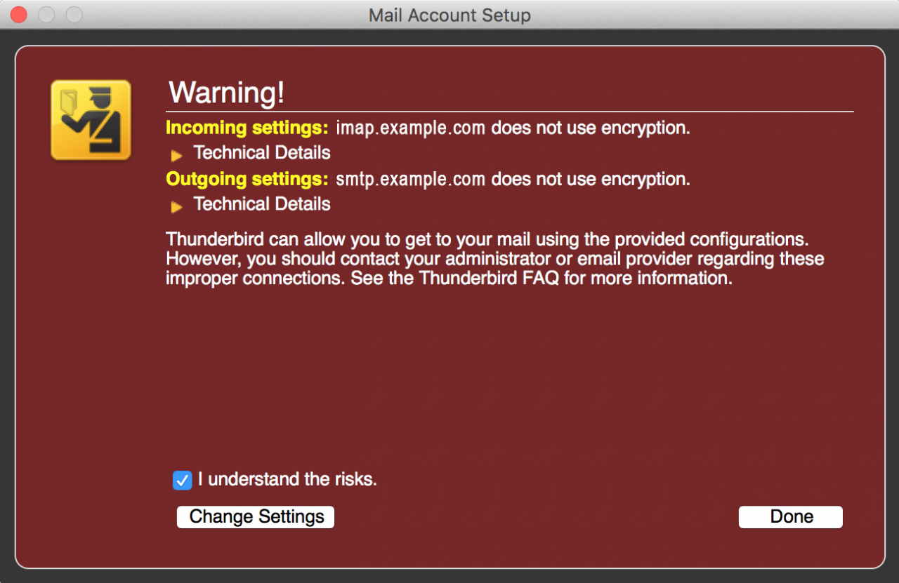 Thunderbird Mac Warning