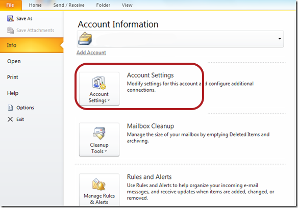Outlook 2010 Account Settings